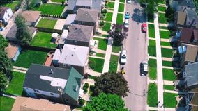 Beautiful drone panorama aerial tilt shift view on tiny houses villas in suburb town village neighborhood. Fascinating drone panorama aerial tilt shift view on stock video