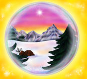 Fascinating Glitter-ball displaying a winter landscape 2016 Stock Photo