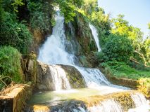 Fascinating and interesting walk through the waterfalls park in the city of Edessa, Greece royalty free stock photography
