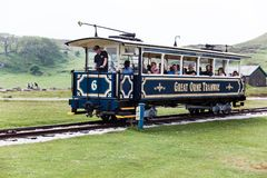 LLandudno, Wales, North Shore Beach, UK - MAY 27, 2018 journey on the vintage blue funicular tramway. nature sightseeing during th. A fascinating journey on the Stock Images