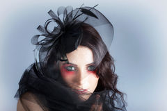 Fascinating Makeup Woman In High Fashion Hat Stock Photography