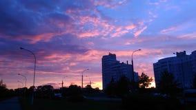 Fascinating pink sunset stock image