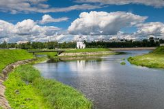 Fascinating riverside scenery of the Tmaka River near its joining the river Volga. The City Of Tver, Russia. Royalty Free Stock Photography