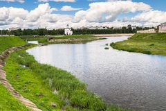 Fascinating riverside scenery of the Tmaka River near its joining the river Volga. The City Of Tver, Russia. Stock Image