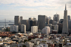 The Fascinating San Francisco Skyline. San Francisco as seen from Coit Tower on Telegraph Hill royalty free stock photos