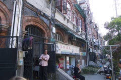Fascinating streets and trades of Shanghai, China: facade of the old Jewish neighborhood near the French Concession Royalty Free Stock Photography