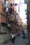 Fascinating streets and trades of Shanghai, China: one of the lanes of the French Concession Royalty Free Stock Images