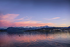Fascinating view of Lucerne Lake in Switzerland Royalty Free Stock Images