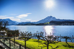 Fascinating view of Lucerne Lake in Switzerland Royalty Free Stock Photo