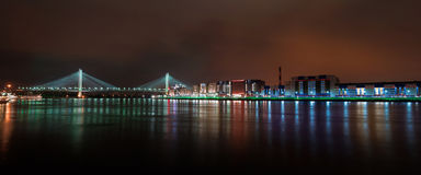 Fascinating view of night St. Petersburg city. Night lights of St. Petersburg. Fascinating view of night Saint Petersburg city. Big bridge of Europe royalty free stock photos