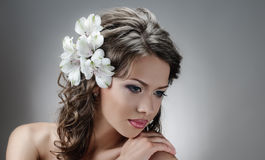 Fascination bride. Portrait of beautiful bride with flowers in hair on grey Stock Image