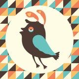 Fascinerad fågel med färgrik retro bakgrund Arkivfoto