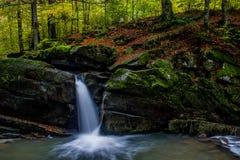 Fascinerande vattenfall i bergen Arkivbild