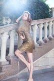 Fascino biondo sexy del modello di stile di modo di moda della donna Fotografia Stock