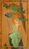 fascino Ritratto di bella ragazza che odora un fiore Pittura a olio su legno illustrazione vettoriale