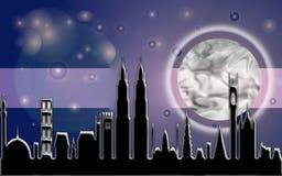 Fascio della luna della città Fotografie Stock