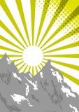 Fascio di Sun sulla parte superiore della montagna Illustrazione Vettoriale