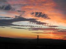 Fascio luminoso rosso dal tramonto di estate Fotografia Stock Libera da Diritti