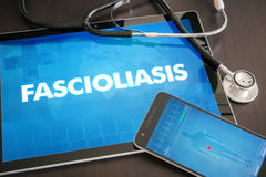Fascioliasis (liver disease) diagnosis medical concept on tablet. Screen with stethoscope stock photos