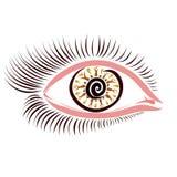 Fascynujący spojrzenie kobieta, oczy z wzorem i długie rzęsy, ilustracji