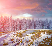 Fascynujący zima krajobraz w górach blisko zamarzniętego po Obraz Stock