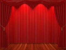 Fase com cortinas e o projector vermelhos Fotos de Stock Royalty Free