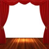 Fase com cortinas e o projector vermelhos Imagens de Stock