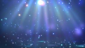 Fase com iluminação do ponto, cena vazia para a mostra, cerimônia de entrega dos prêmios ou propaganda na obscuridade - fundo azu ilustração royalty free