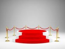 Fase com tapete vermelho para a cerimônia de concessões Pódio, conceito do suporte ilustração royalty free