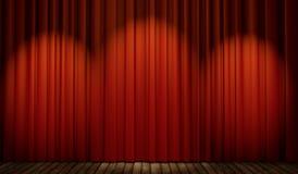 fase 3d com cortina vermelha e o assoalho de madeira Fotografia de Stock
