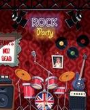 Fase da música rock no bar pronto para o partido ilustração royalty free