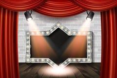 Fase de madeira com cortina vermelha e o tijolo branco Imagem de Stock Royalty Free