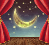 Fase del teatro con la luna, stelle Immagine Stock