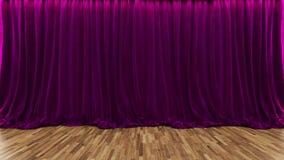 fase del teatro della rappresentazione 3d con la tenda porpora ed il pavimento di legno Immagini Stock