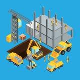 Fase della costruzione di edifici Trasporto isometrico per la costruzione Illustrazioni di vettore messe royalty illustrazione gratis