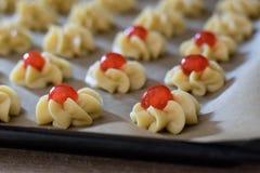 Fase della preparazione di dessert italiani immagini stock libere da diritti