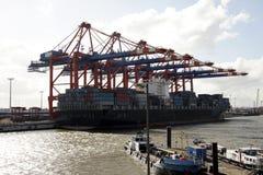 Fase di atterraggio al porto di Amburgo, Germania (B) fotografia stock libera da diritti