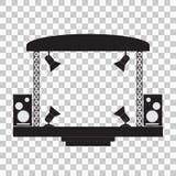 Fase di concerto ed attrezzatura di musical Priorità bassa trasparente illustrazione di stock