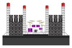 Fase di festival con gli altoparlanti ed i tamburi Immagine Stock Libera da Diritti