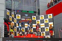 Fase do campeonato mundial do Superbike, cerimônia de entrega dos prêmios do russo, pódio, o 21 de julho de 2013, no canal adutor  Imagem de Stock