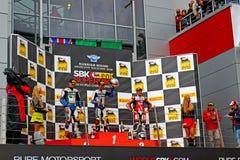 Fase do campeonato mundial do Superbike, cerimônia de entrega dos prêmios do russo, pódio, o 21 de julho de 2013, no canal adutor  Fotografia de Stock Royalty Free
