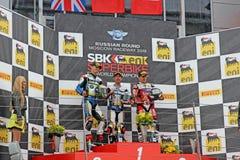Fase do campeonato mundial do Superbike, cerimônia de entrega dos prêmios do russo, pódio, o 21 de julho de 2013, no canal adutor  Fotos de Stock