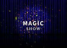 Fase do teatro com cortina, o projetor, reflexão e confetes azuis Cartaz mágico da mostra Vetor ilustração stock