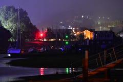 Fase principale di festival dell'isola di Wight alla notte Fotografia Stock