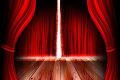 Fase rossa del teatro con la tenda Fotografia Stock