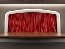 Fase vazia com a cortina vermelha de veludo. ilustração stock