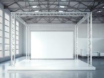 Fase vazia com estrutura do metal e o quadro de avisos vazio rendição 3d Imagem de Stock