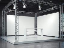 Fase vazia com estrutura e lightspots rendição 3d Foto de Stock