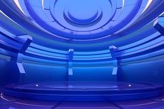 Fase vazia futurista Conceito interior lustroso rendição 3d ilustração do vetor