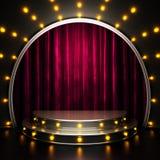 Fase vermelha da cortina com luzes Imagens de Stock Royalty Free
